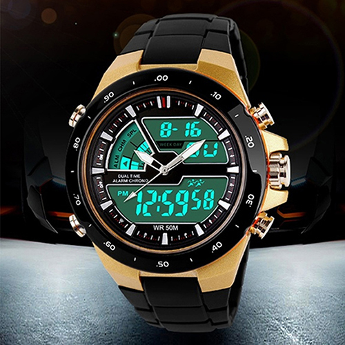 Men Stainless Steel Waterproof Chronograph Sport Digital Watches Analog Dual Time Alarm Date Hot 5HXH