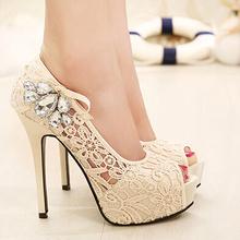 New Women Open Toe Lace Rhinestone Pumps Fashion Element Platform Thin Heels Pumps Shoes Summer Sandals Women Big Size35-41