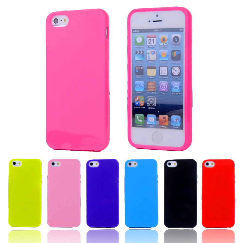 Soft Case For Apple iPhone 5 5S Candy Color TPU Gel Rubber Material Soft Back Cover For iPhone5 Shockproof Phone Bags(China (Mainland))