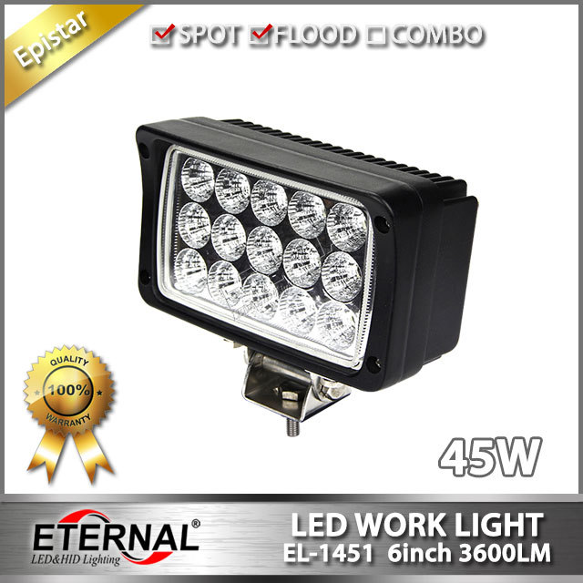 Free 2pcs-45W 4x6in rectangle off road tractor truck trailer agriculture construction heavy duty high power led work light(China (Mainland))