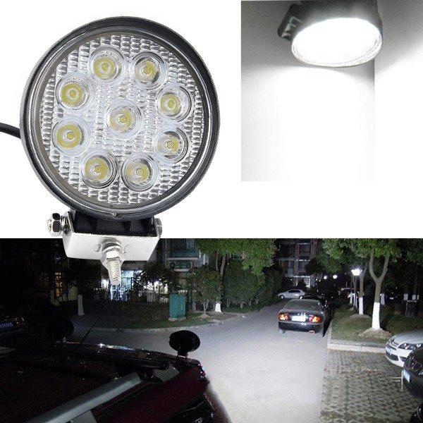 1Pcs 27W LED Work Light 12V IP67 Spot/Flood Fog Light Off Road ATV Tractor Train Bus Boat Floodlight ATV UTV Work Light(China (Mainland))