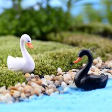Weißer schwan gartenverzierung miniatur-figur blumentopf märchen gartendekoration weiß(China (Mainland))