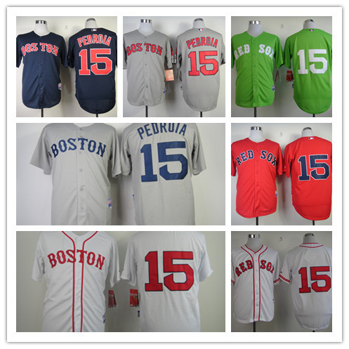 Wholesale&Retail Mens Boston Red Sox Jerseys #15 Dustin Pedroia Throwback Baseball Jersey,Accept Mixed Orders,Embroidery Logos