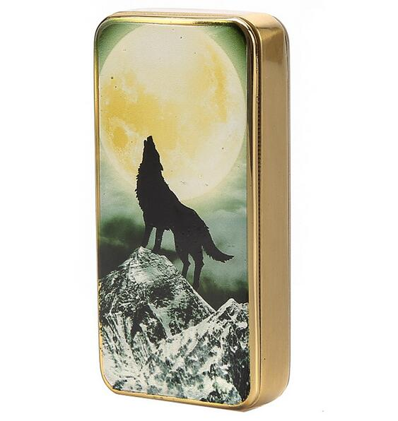 wolf gold silver electronic USB cigarette lighter home rechargeable light Metal windproof ultra-thin individuality creative gift(China (Mainland))