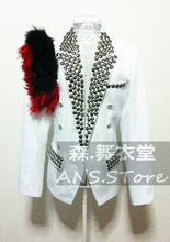 Ds Male black feather Royal white Blazer costume Nightclub Singer performance Jacket Outerwear - Stage Performance Costumes store