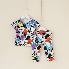 2016 Summer baby girl clothing set Cotton 2pcs Short sleeve character print tee+Pant kids clothes sets children outfit sets(China (Mainland))