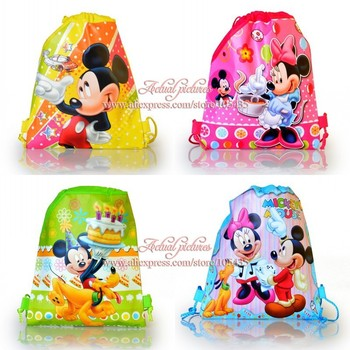2014 Hot Sale,12Pcs Mickey & Minnie Non Woven Children Cartoon Logo Drawstring Backpack School Bags with handle,Party Favors
