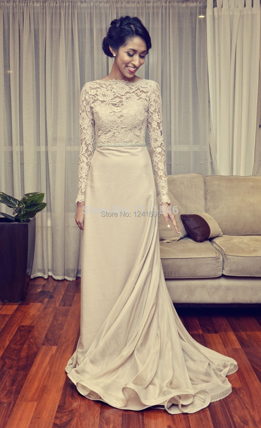 Modest boat neck lace chiffon vintage wedding dress with for Long vintage wedding dresses
