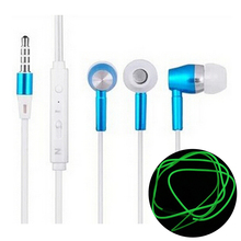 3.5mm In-ear Stereo Phone Headsets Luminous Glow Earphones Headphones Handsfree with Mic Ecouteur auriculares for iPhone Samsung
