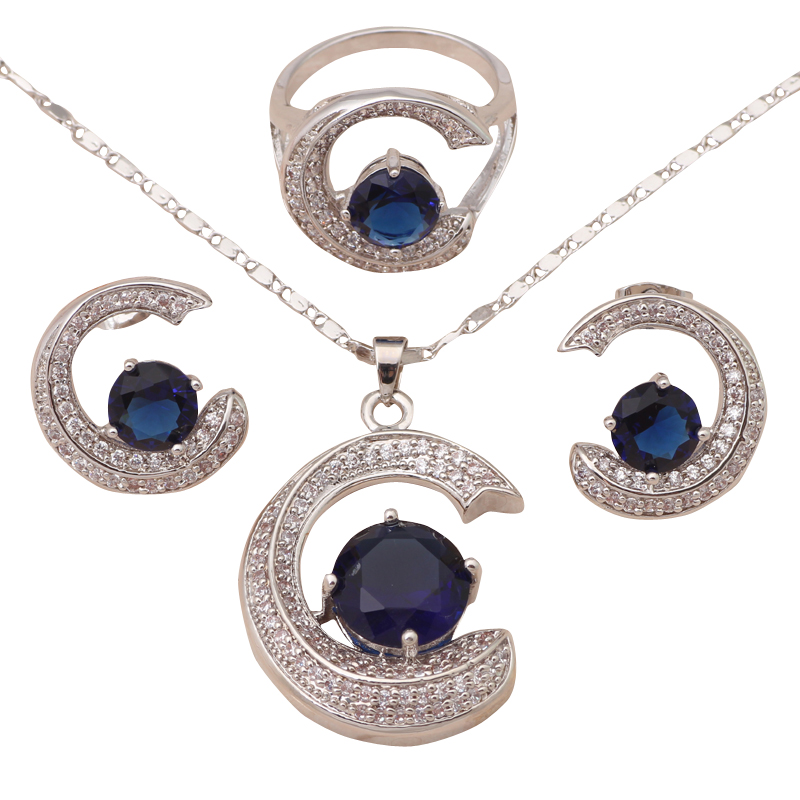 Stylish C C design Royal Blue Crystal Silver filled AAA Zirconia Fashion Jewelry Set Necklace Earrings Ring sz #6 #7.5 #9 JS561A(China (Mainland))