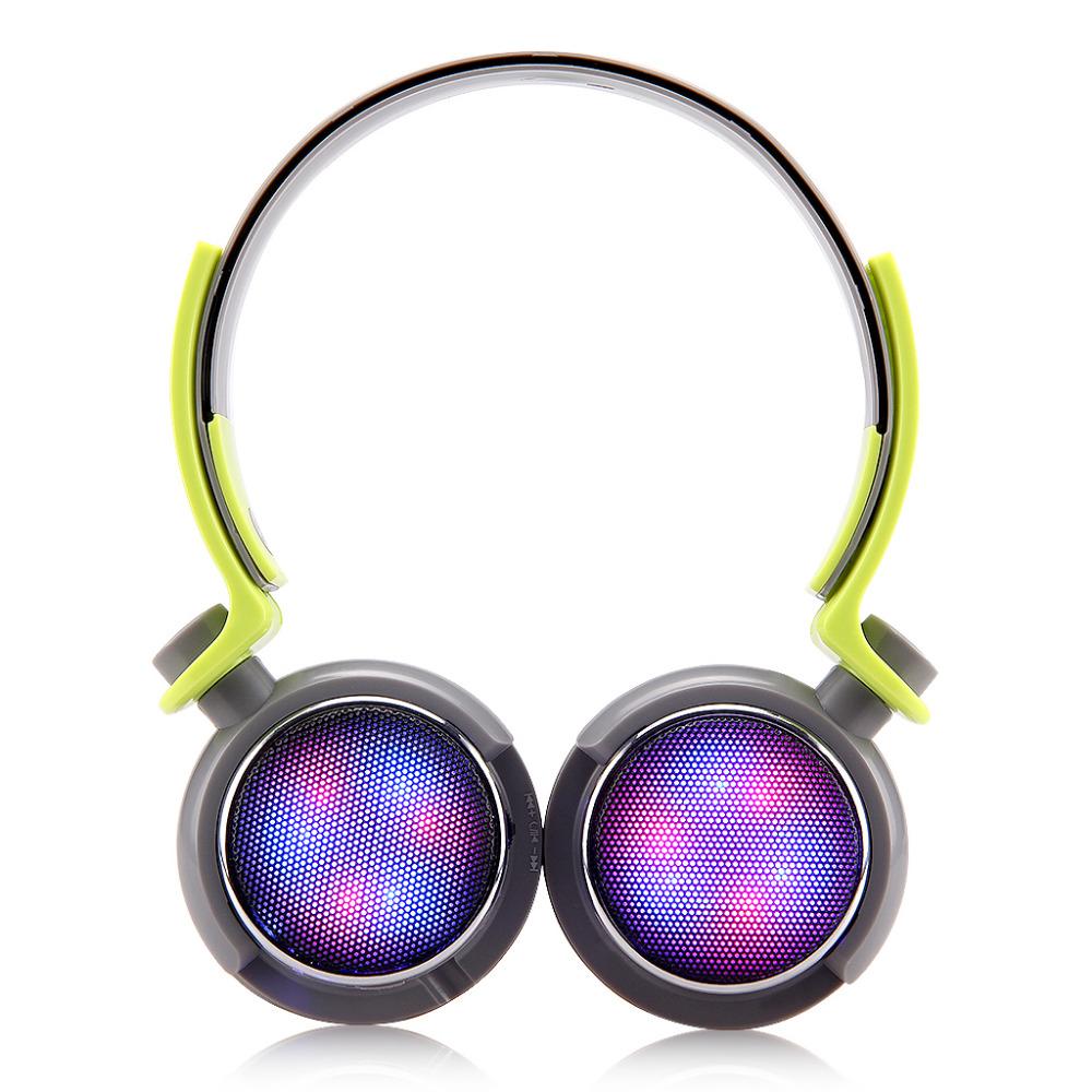 EXCELVAN Wireless Bluetooth Headphones with Mic/TF Card Slot/FM Radio Spectrum LED Flashing Fashional Colorful Design (GREY)(China (Mainland))