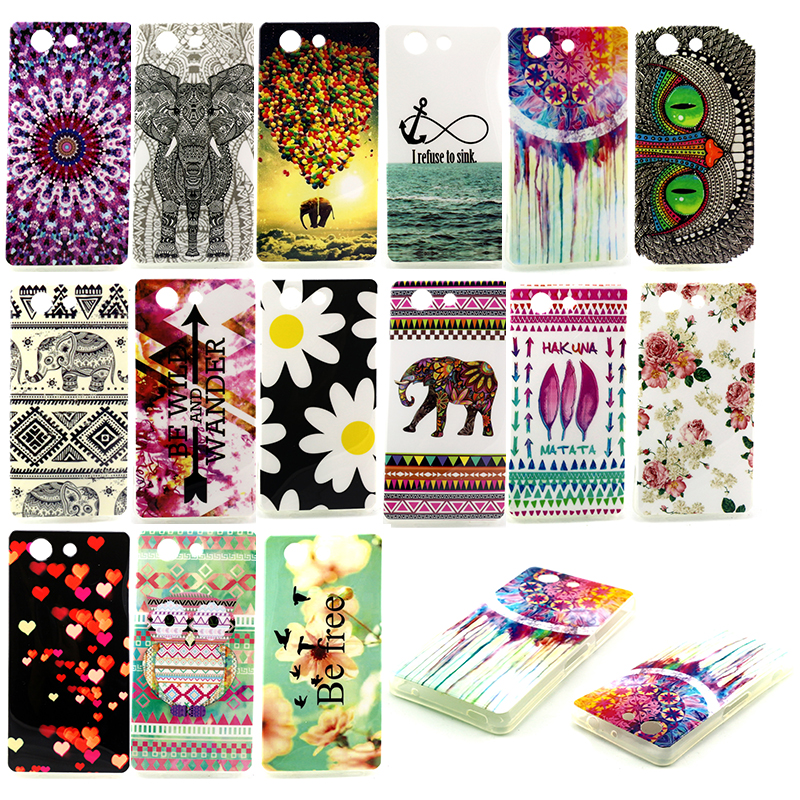 Hot Selling Designed Cartoon Owl Flower Soft Silicone TPU Back Phone Case Cover For Sony Xperia Z3 Compact Z3 mini Cases(China (Mainland))