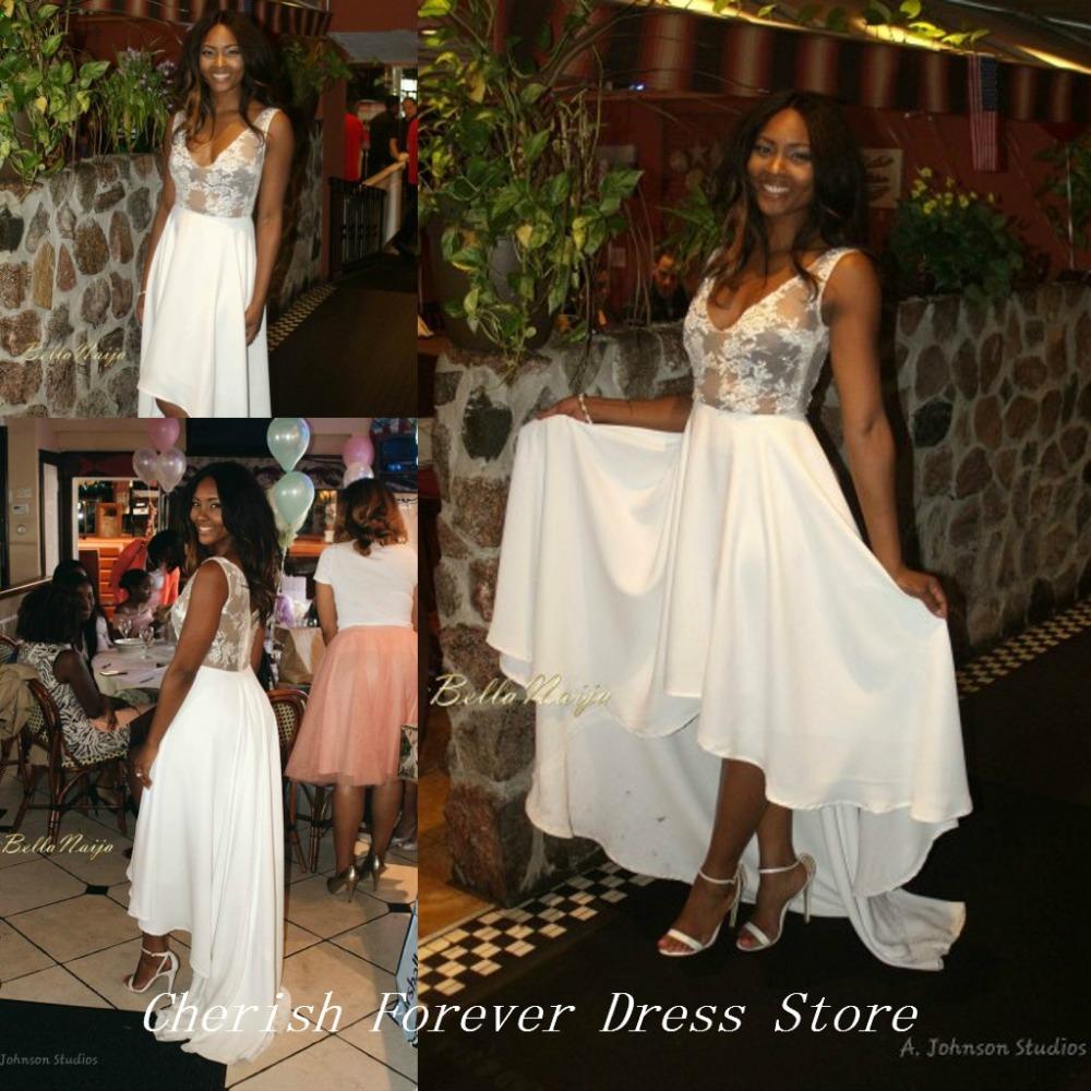 Free Shipping Osas Ighodaro Pretty Bridal Shower Toju Foyeh White Colour Lace High Low Chiffon Prom Gown Women Dress WH554(China (Mainland))
