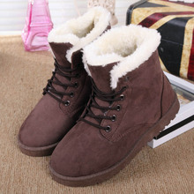 Hot Women Boots Snow Warm Winter Boots Botas Mujer Lace Up Fur Ankle Boots Ladies Winter Shoes Black NM01(China (Mainland))