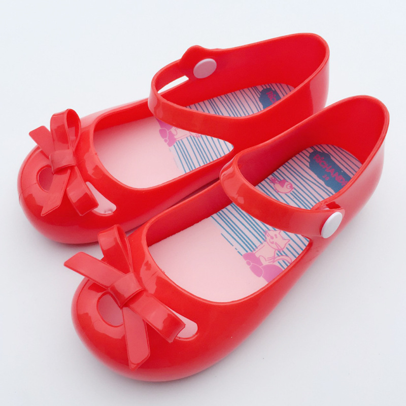 New Summer Kids Girls Melissa Jelly Shoes Bow Flats Infants Melissa Sandals Red Black Jelly Shoes Baby Girls Mini Melissa Shoes(China (Mainland))