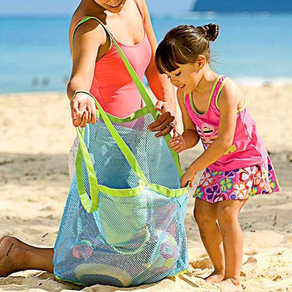 New Applied Enduring Children Sand Away Beach Mesh Bag Children Beach Toys Clothes Towel Bag Baby Toy Collection Nappy(China (Mainland))
