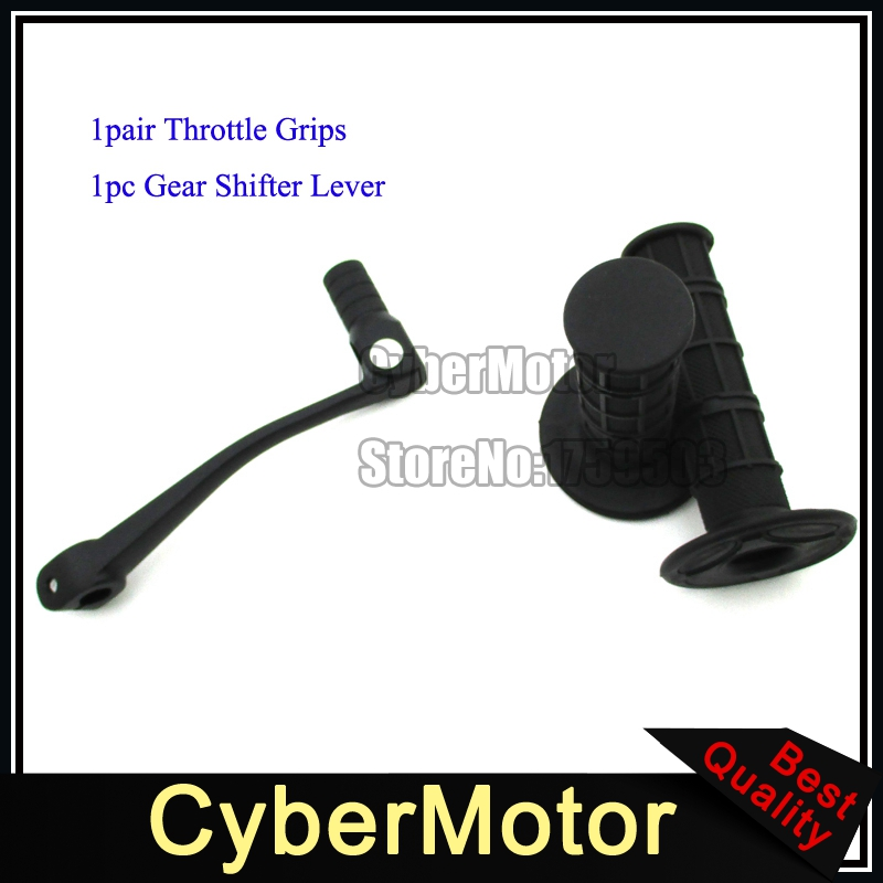 Black Gear Shifter Lever Black Throttle Handle Grips For Chinese Pit Dirt Bike 50 90 110 125 150 160 cc Lifan YX XR CRF KLX SSR(China (Mainland))