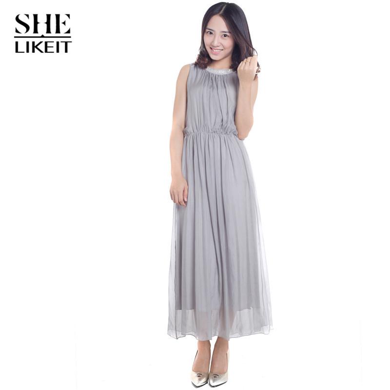 Shelikeit High Quality Women Chiffon Maxi Long Dress Ladies Elegant Summer Style Pleated Draped Sleeveless DressesОдежда и ак�е��уары<br><br><br>Aliexpress