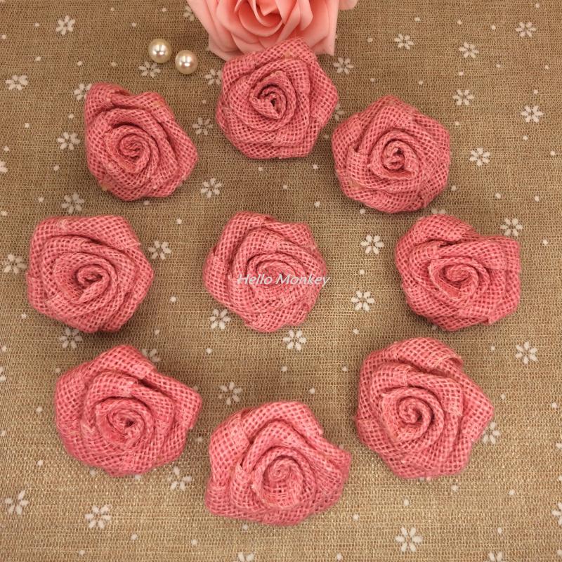 السنة الجديدة diy الزفاف الخيش اكليلا الخيش الكتان الخيش نسيج الزهور الخيش rosettest bouque روز/الجوت روز(China (Mainland))