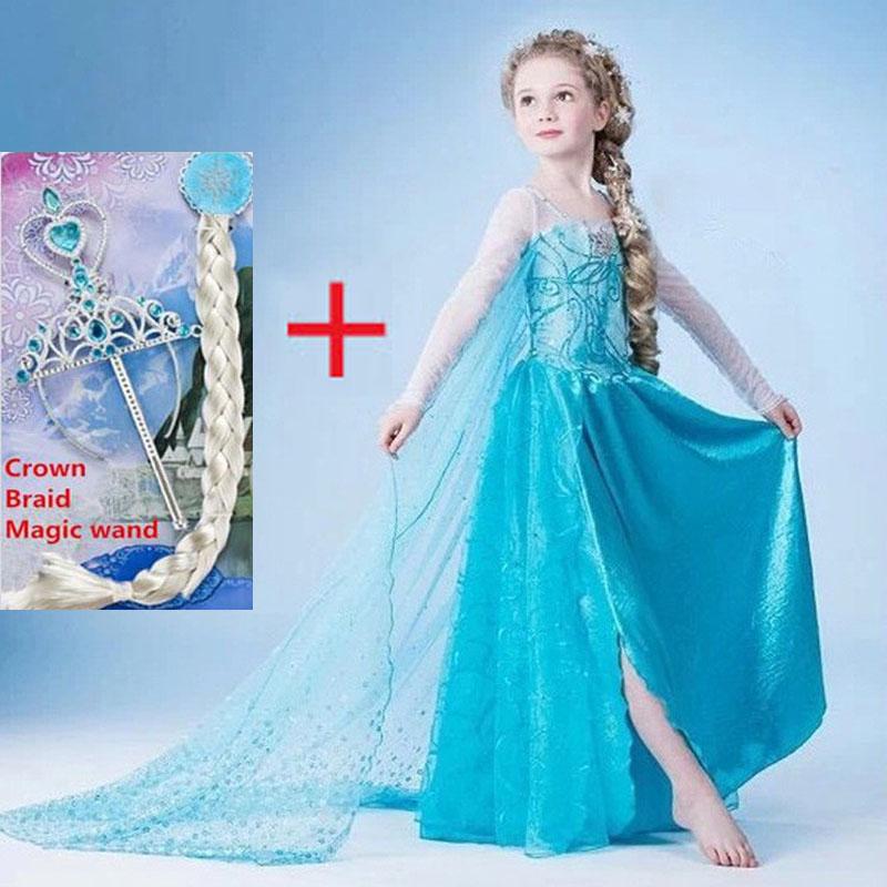 Гаджет  Elsa dress girls costumes for kids party dresses vestidos infantis Congelados vestido elsa de festa fantasia infantil disfraz None Детские товары
