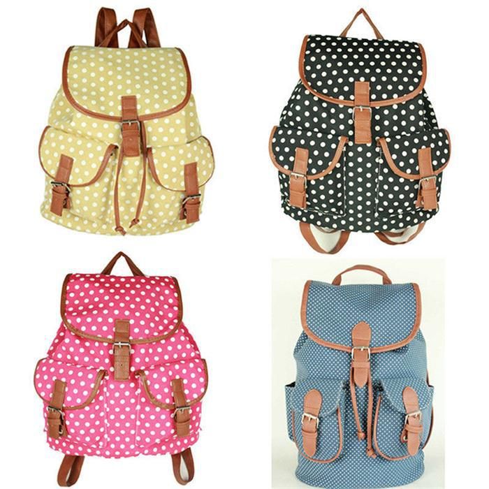 Wholesale 2015 New Designer Canvas Bookbags Backpack Dot ...