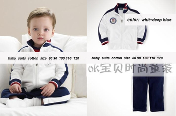 2013 children  pants collar racer cotton suit the spring and autumn period and the new children's clothing (80-120