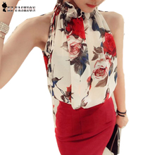 New 2016 Fashion Women Sleeveless Chiffon Floral Print Blouse Ruffles Turtleneck Tops Shirt Bluse Blusas Feminine Brand T57334(China (Mainland))