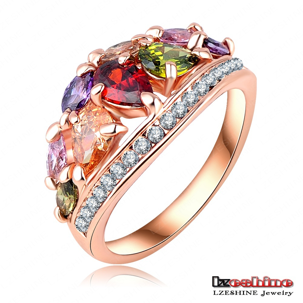 LZESHINEBrand New Arrival Multicolor Fashionable Ring for Women 18K Rose Gold Plated with AAA Zircon Rings Anillos Ri-HQ0401-A(China (Mainland))