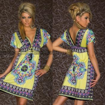 Hot sale 2014 Fashion Retro Vintage Paisley Print V Neck Hippie Boho Summer Dress Women Beach Dress 4178