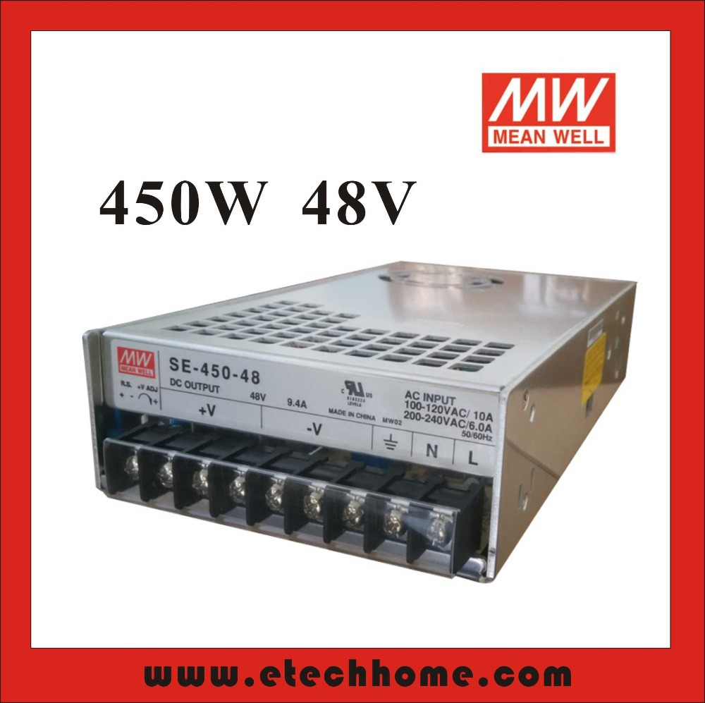 Фотография High Reliability Mean Well Switching Power Supply Stepper Power 450W 48V 9.4A SE-450-48 for Communication CNC Control