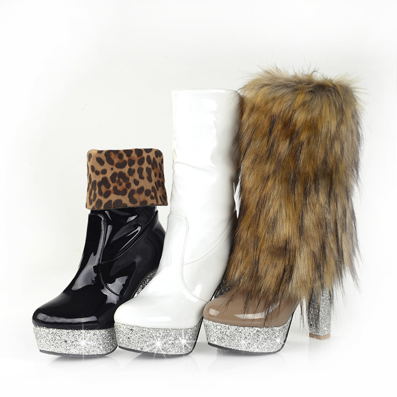 New Fashion Style fox fur tassel women's shoes snow boots Mid-Calf Leopard High-heeled shoes(China (Mainland))