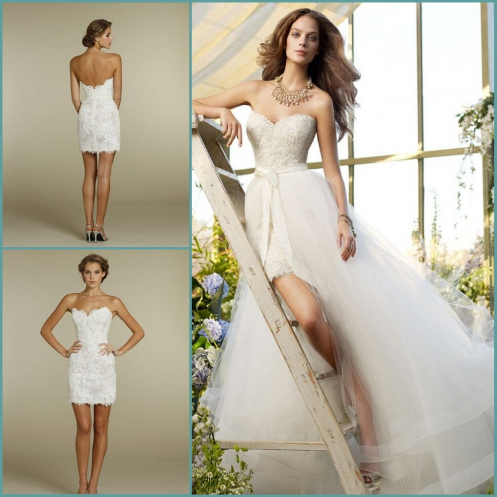 Custom made sweetheart two piece design lace short bridal for Detachable train wedding dress