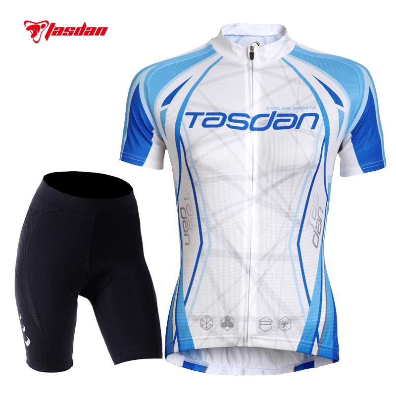 Tasdan Womens Cycling Jerseys Set Short Sleeve Bike Bicycle Jerseys Suit Custom Cycling Jerseys & (Bib) Short Sets(China (Mainland))