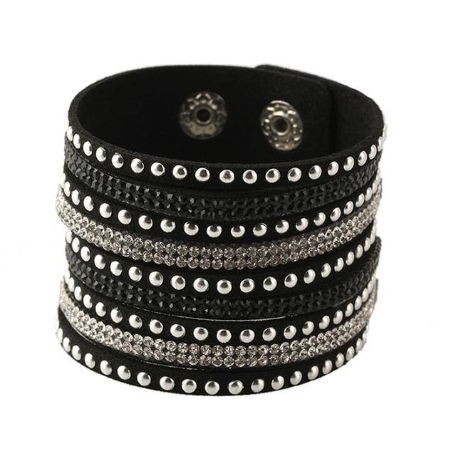 Кристалл заклепки мужская многослойные кожаный браслет старинные ювелирные изделия ...