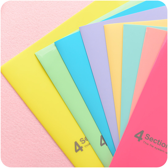 Kawaii Korea stationery Pure and fresh file folder candy color A4 folder paper bag folder file PVC school office folder carpetas(China (Mainland))