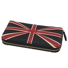 Selling Vintage Women's Flat Wallet Leather Union Jack British England Flag UK Clutch Wallet Handbag Purse monederos G00169Z(China (Mainland))