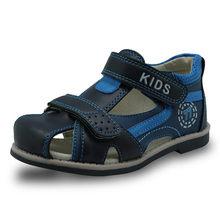 Apakowa 2019 קיץ ילדי נעלי מותג סגור הבוהן פעוט בני סנדלי אורטופדי ספורט עור מפוצל תינוק בני סנדלי נעליים(China)