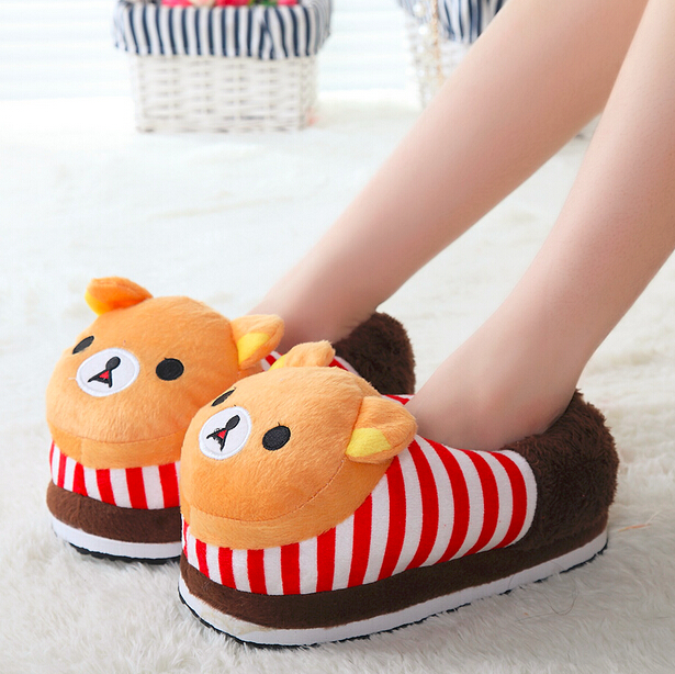 New 2015  Lovely Winter Slippers Cartoon animal Warm Cotton Slippers Home Shoes for women Indoor Slippers Free Shipping<br><br>Aliexpress
