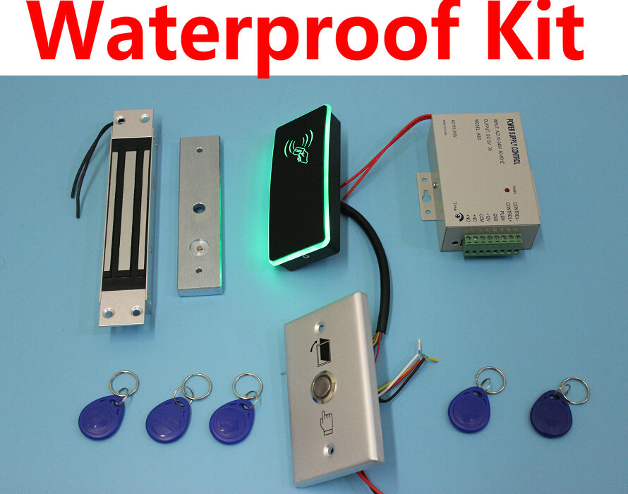 Waterproof reader+waterproof exit button IP67 Access Control, Standalone 125KHz Card +Embedded Magnetic Door Lock kit(China (Mainland))