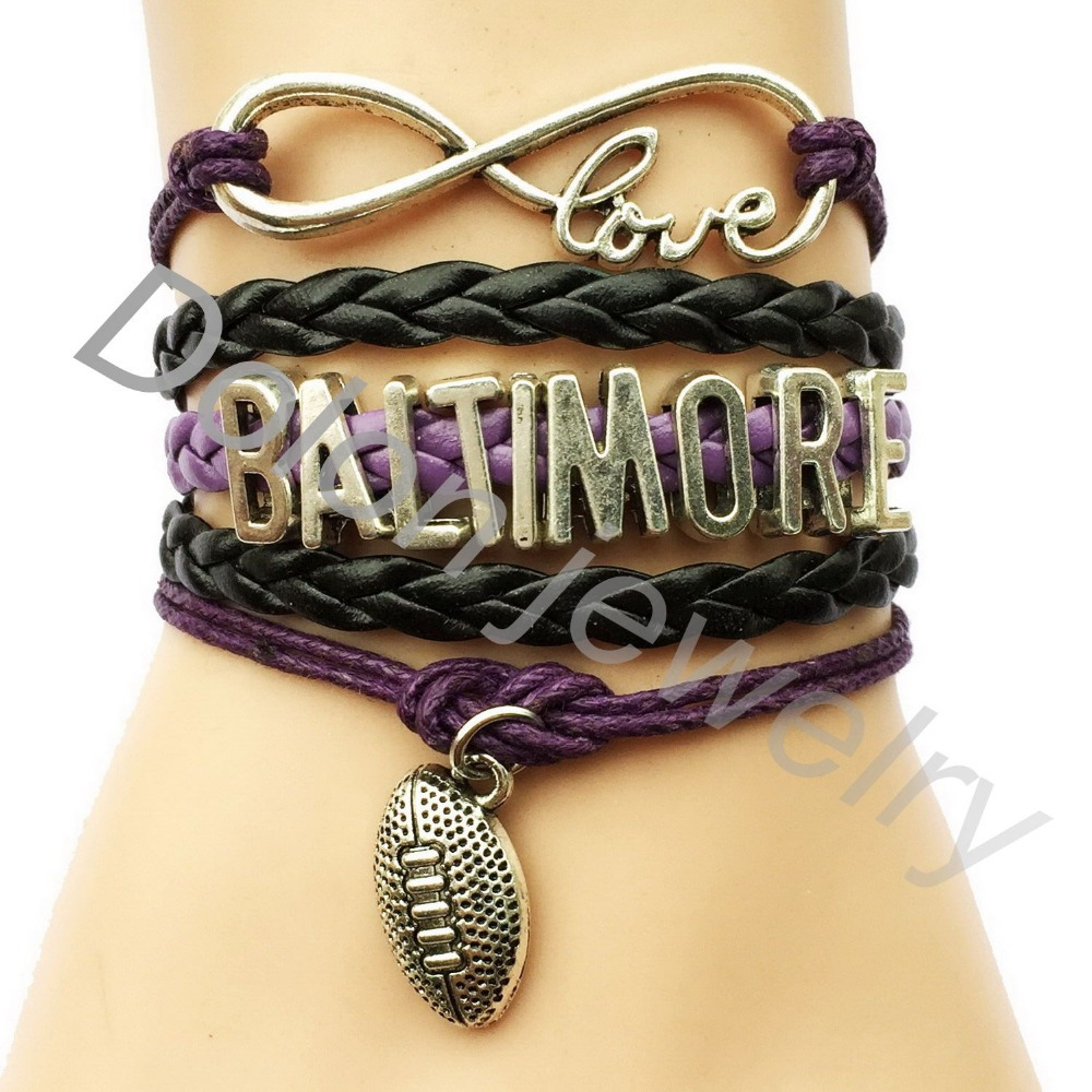 Personalized Baltimore Infinity Love Football American Sports Bracelet - Drop Shipping Custom College Team Club Sports Gift(China (Mainland))