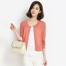 New 2016 Spring & Summer Cardigan Plus Size Women's Knitwear Sweater; Size S-XXXL Cutout Thin Lace Cardigan Knitted Wool Sweater(China (Mainland))