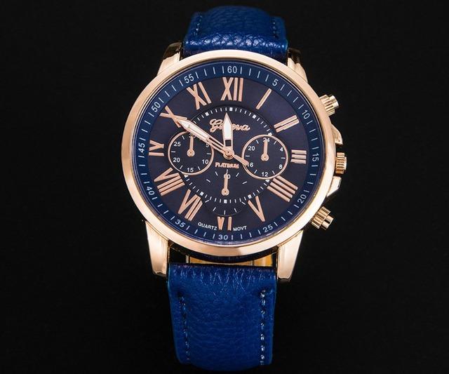 Zegarek damski GENEVA cyfry rzymskie trzy tarcze skóra PU różne kolory