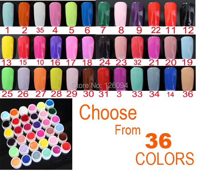 1pcs X Pure Colors UV Gel Nails Polish UV Gel Varnish For Nail Art Professional / DIY Manicure 36 Colors Choices(China (Mainland))