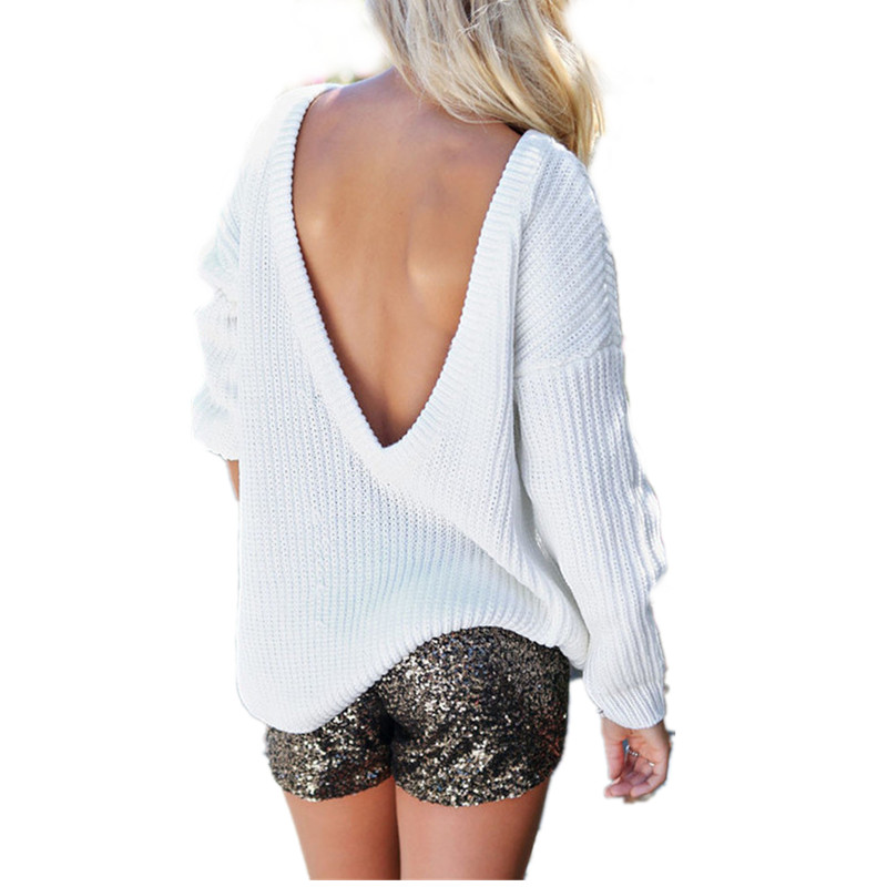 2016 New Design Women Sweater Loose backless off shoulder Pullovers Batwing Tops Shirt Long Sleeve Knitted Pull Femme Women Wear(China (Mainland))