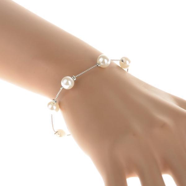 2015 New Design Fashion Silver Bracelet Elegant Pearl Beads Charm Bracelets & Bangles For Women Brand Jewelry Bijouterie(China (Mainland))