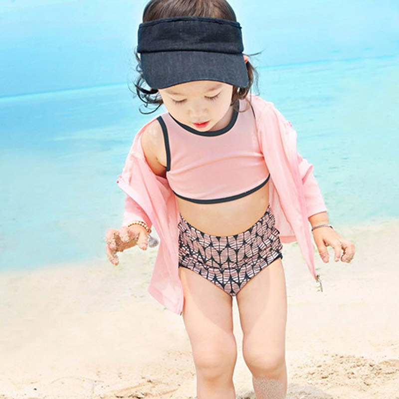 girls two pieces swimsuit with outer long sleeve jackets cute baby swimsuits two pieces tankini bathing suits high waist bikini(China (Mainland))