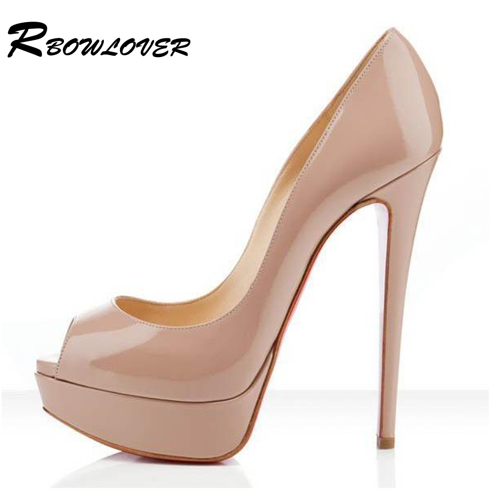 rbowlover 2016 new patent leather pumps ladies14cm