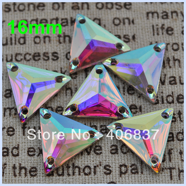 Free Shipping, 100pcs/Lot, 16mm Crystal AB / Clear AB sew on Triangle flat back resin sew on stones(China (Mainland))