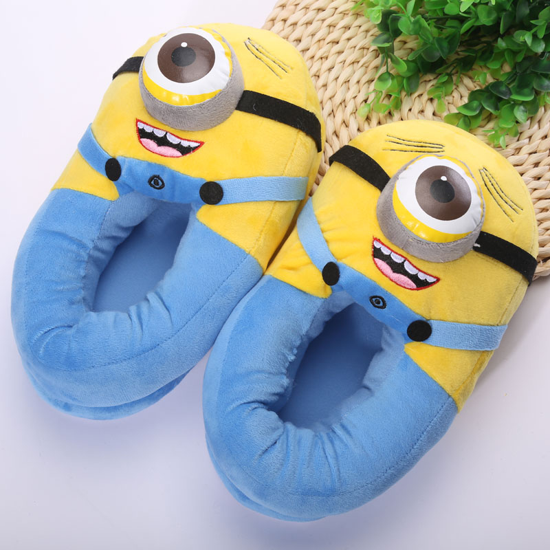 """Гаджет  Minion Toys Plush Slippers High Quality Despicable Me Minions Shoes Kids Home Slippers 11"""" ANSE053 None Обувь"""