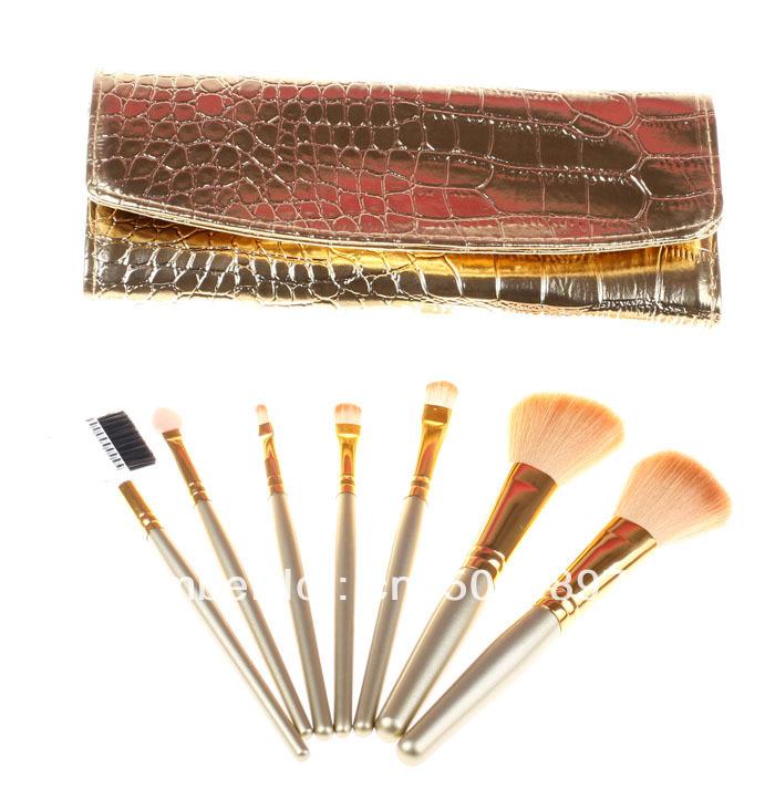 Wholesale 5sets/Lot 7pcs Facial Makeup Cosmetic Brush Gold set Kit Case Natural pure goat hair HOT(China (Mainland))
